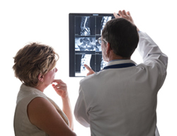 doctor and patient looking at xrays
